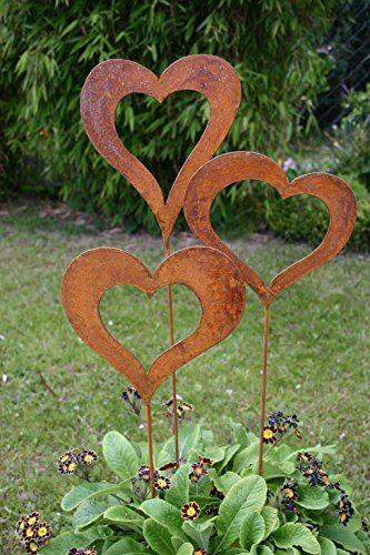 Gartenstecker Set Herzen 3 x 60cm Metall Rost Gartendeko Edelrost - 1