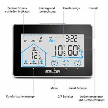 Wetterstation Funk mit Außensensor, BALDR Digital Thermometer-Hygrometer für Innen und außen, Hintergrundbeleuchtung und aktuelle Uhrzeit, schwarz - 3