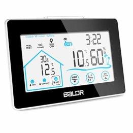 Wetterstation Funk mit Außensensor, BALDR Digital Thermometer-Hygrometer für Innen und außen, Hintergrundbeleuchtung und aktuelle Uhrzeit, schwarz - 1
