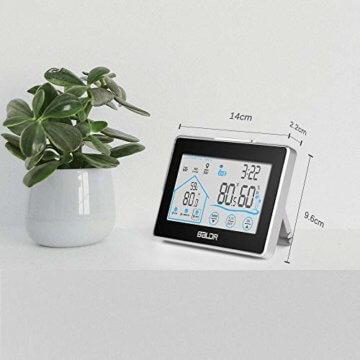 Wetterstation Funk mit Außensensor, BALDR Digital Thermometer-Hygrometer für Innen und außen, Hintergrundbeleuchtung und aktuelle Uhrzeit, schwarz - 4