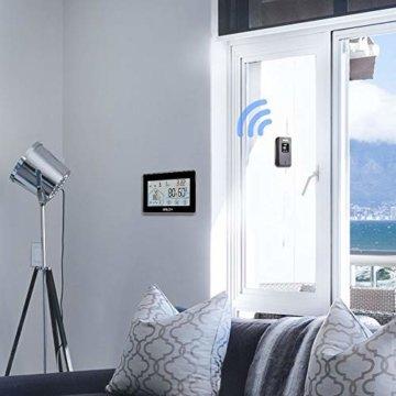Wetterstation Funk mit Außensensor, BALDR Digital Thermometer-Hygrometer für Innen und außen, Hintergrundbeleuchtung und aktuelle Uhrzeit, schwarz - 5