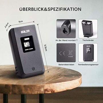 Wetterstation Funk mit Außensensor, BALDR Digital Thermometer-Hygrometer für Innen und außen, Hintergrundbeleuchtung und aktuelle Uhrzeit, schwarz - 6