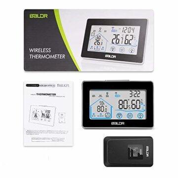 Wetterstation Funk mit Außensensor, BALDR Digital Thermometer-Hygrometer für Innen und außen, Hintergrundbeleuchtung und aktuelle Uhrzeit, schwarz - 7