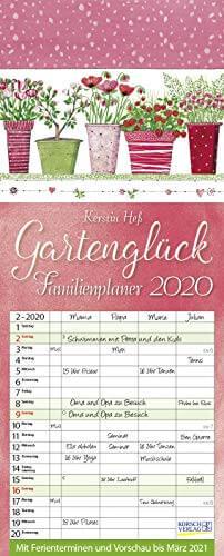 Gartenglück 2020: Familienplaner - 4 große Spalten mit viel Platz. Hochwertiger Familienkalender für Gärtner mit Ferienterminen und Vorschau bis März 2021. 19 x 47 cm. - 1
