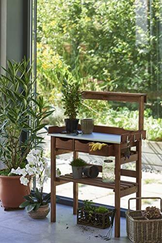 Pflanztisch für Garten Terrasse Balkon 3 Schubladen 3 Haken Holz verzinkte Metall-Arbeitsfläche braun ca. 78 x 38 x 112 cm - 3