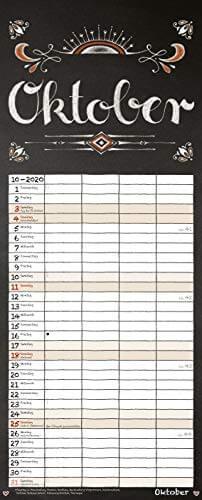 Tafel Timer 2020: Typo Art Familienkalender mit 4 breiten Spalten in Tafeloptik. Hochwertiger Familienplaner mit Ferienterminen, Vorschau bis März 2021. - 11