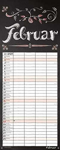 Tafel Timer 2020: Typo Art Familienkalender mit 4 breiten Spalten in Tafeloptik. Hochwertiger Familienplaner mit Ferienterminen, Vorschau bis März 2021. - 3