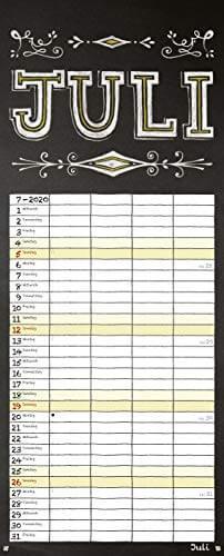 Tafel Timer 2020: Typo Art Familienkalender mit 4 breiten Spalten in Tafeloptik. Hochwertiger Familienplaner mit Ferienterminen, Vorschau bis März 2021. - 8