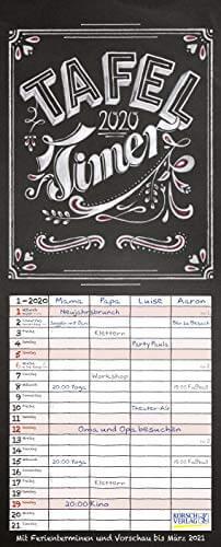 Tafel Timer 2020: Typo Art Familienkalender mit 4 breiten Spalten in Tafeloptik. Hochwertiger Familienplaner mit Ferienterminen, Vorschau bis März 2021. - 1