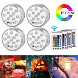 AODOOR Unterwasser Licht, RGB Multi Farbwechsel wasserdichte LED Leuchten für Vase Base Party,Weihnachten,Schwimmbad, Halloween, Weihnachten - 4 Stück - 1