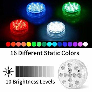 AODOOR Unterwasser Licht, RGB Multi Farbwechsel wasserdichte LED Leuchten für Vase Base Party,Weihnachten,Schwimmbad, Halloween, Weihnachten - 4 Stück - 4