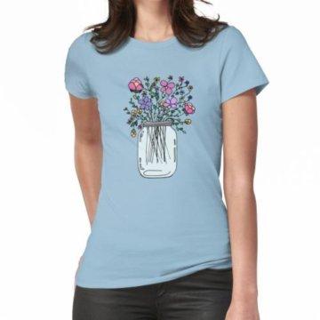 Einmachglas mit Blumen Frauen T-Shirt