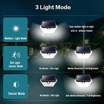 Solarlampen für Außen mit Bewegungsmelder,【2019 Neuestes Modell 60 LED-800 Lumen】iPosible Solarleuchte Aussen 2000mAh Solar Wasserdichte Wandleuchte Solar Aussenleuchte Solarlicht für Garten- 4 Stück - 3