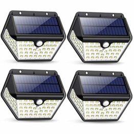 Solarlampen für Außen mit Bewegungsmelder,【2019 Neuestes Modell 60 LED-800 Lumen】iPosible Solarleuchte Aussen 2000mAh Solar Wasserdichte Wandleuchte Solar Aussenleuchte Solarlicht für Garten- 4 Stück - 1