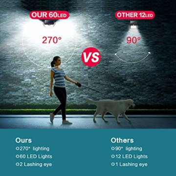 Solarlampen für Außen mit Bewegungsmelder,【2019 Neuestes Modell 60 LED-800 Lumen】iPosible Solarleuchte Aussen 2000mAh Solar Wasserdichte Wandleuchte Solar Aussenleuchte Solarlicht für Garten- 4 Stück - 4