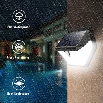 Solarlampen für Außen mit Bewegungsmelder,【2019 Neuestes Modell 60 LED-800 Lumen】iPosible Solarleuchte Aussen 2000mAh Solar Wasserdichte Wandleuchte Solar Aussenleuchte Solarlicht für Garten- 4 Stück - 5
