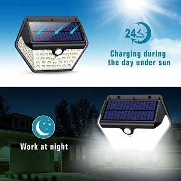 Solarlampen für Außen mit Bewegungsmelder,【2019 Neuestes Modell 60 LED-800 Lumen】iPosible Solarleuchte Aussen 2000mAh Solar Wasserdichte Wandleuchte Solar Aussenleuchte Solarlicht für Garten- 4 Stück - 6