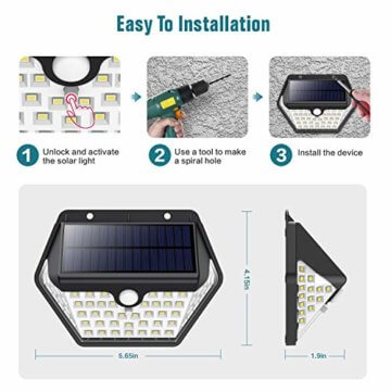 Solarlampen für Außen mit Bewegungsmelder,【2019 Neuestes Modell 60 LED-800 Lumen】iPosible Solarleuchte Aussen 2000mAh Solar Wasserdichte Wandleuchte Solar Aussenleuchte Solarlicht für Garten- 4 Stück - 7
