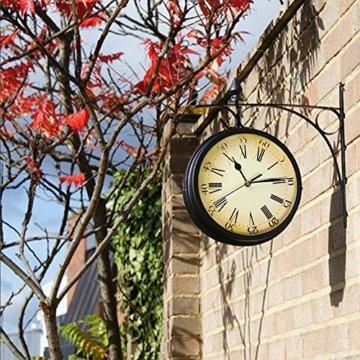 Wetterfeste Retro-Garten-Uhr für draußen im Design Paddington-Station, Wanduhr, doppelseitig mit Außenhalterung 20 cm - 2