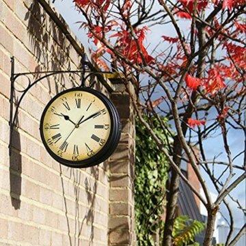 Wetterfeste Retro-Garten-Uhr für draußen im Design Paddington-Station, Wanduhr, doppelseitig mit Außenhalterung 20 cm - 3