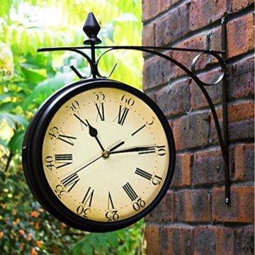 Wetterfeste Retro-Garten-Uhr für draußen im Design Paddington-Station, Wanduhr, doppelseitig mit Außenhalterung 20 cm - 4