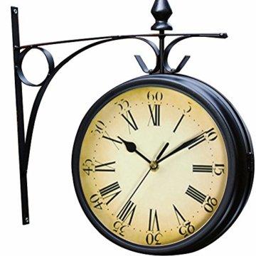 Wetterfeste Retro-Garten-Uhr für draußen im Design Paddington-Station, Wanduhr, doppelseitig mit Außenhalterung 20 cm - 1