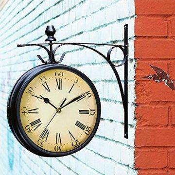 Wetterfeste Retro-Garten-Uhr für draußen im Design Paddington-Station, Wanduhr, doppelseitig mit Außenhalterung 20 cm - 5