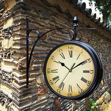 Wetterfeste Retro-Garten-Uhr für draußen im Design Paddington-Station, Wanduhr, doppelseitig mit Außenhalterung 20 cm - 6