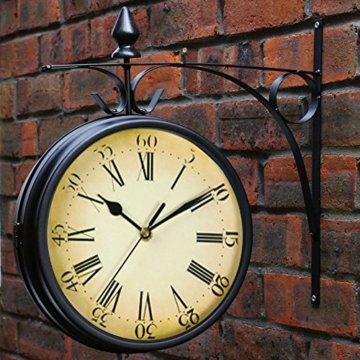 Wetterfeste Retro-Garten-Uhr für draußen im Design Paddington-Station, Wanduhr, doppelseitig mit Außenhalterung 20 cm - 7