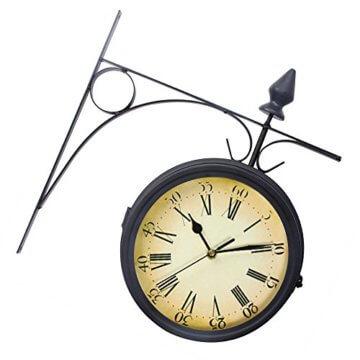 Wetterfeste Retro-Garten-Uhr für draußen im Design Paddington-Station, Wanduhr, doppelseitig mit Außenhalterung 20 cm - 8