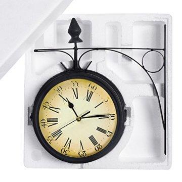 Wetterfeste Retro-Garten-Uhr für draußen im Design Paddington-Station, Wanduhr, doppelseitig mit Außenhalterung 20 cm - 9
